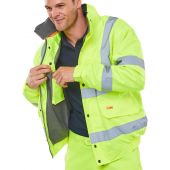 B-Seen Hi Viz Fleece Lined Bomber Jacket