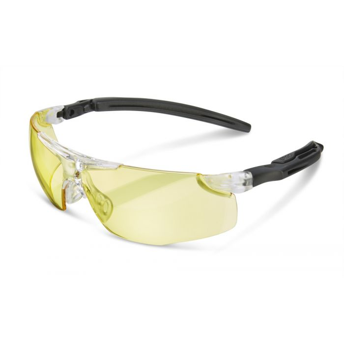 B-Brand Heritage BBH50 Ergonomic Temple Safety Glasses Yellow Lens