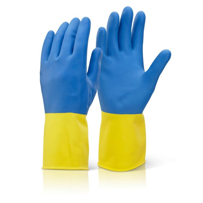 B-click Bi Colour Heavy Weight Yellow/Blue Gloves