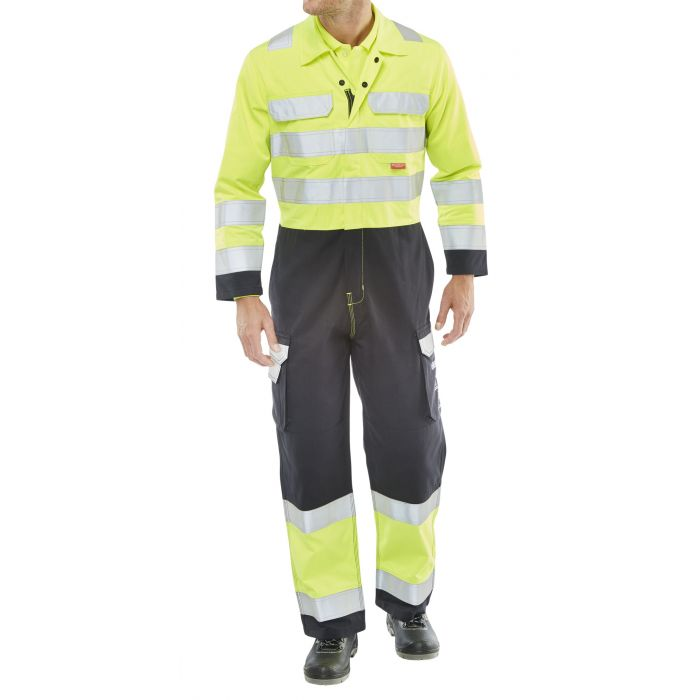 B-Click ARC Compliant Flame Retardant Hi-Vis Yellow/Navy Coverall
