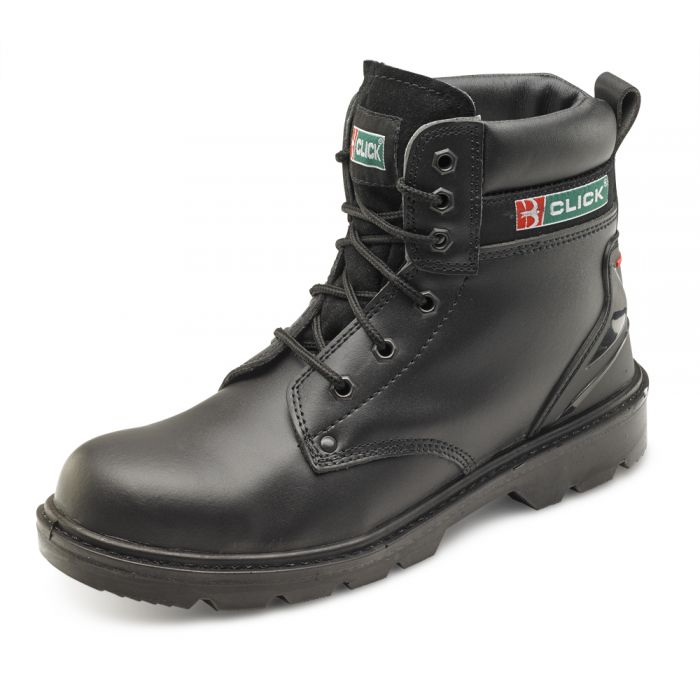 B-Click Footwear Smooth Leather 6 Inch Safety Boots Black