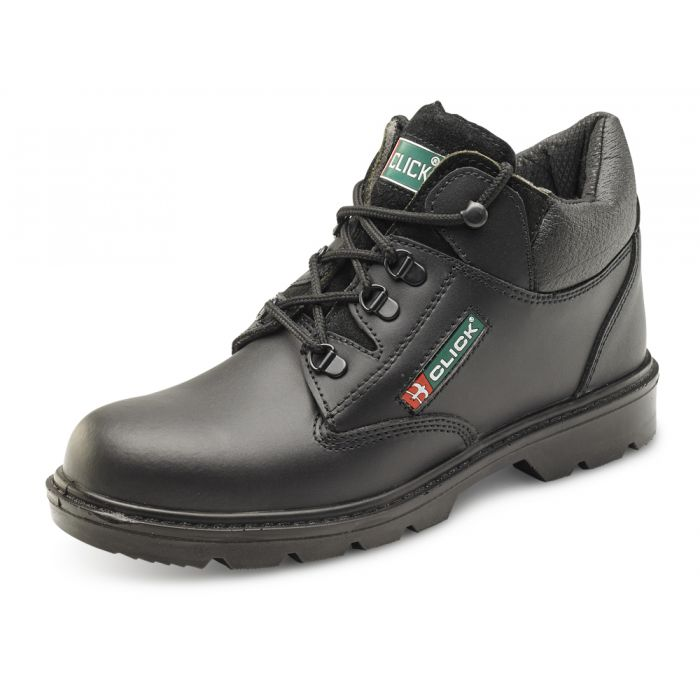 B-Click Footwear Smooth Leather Mid Cut Safety Boots Black