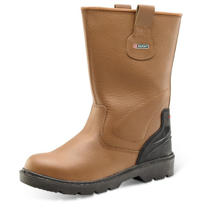 B-Click Footwear Premium Rigger Safety Boots Tan