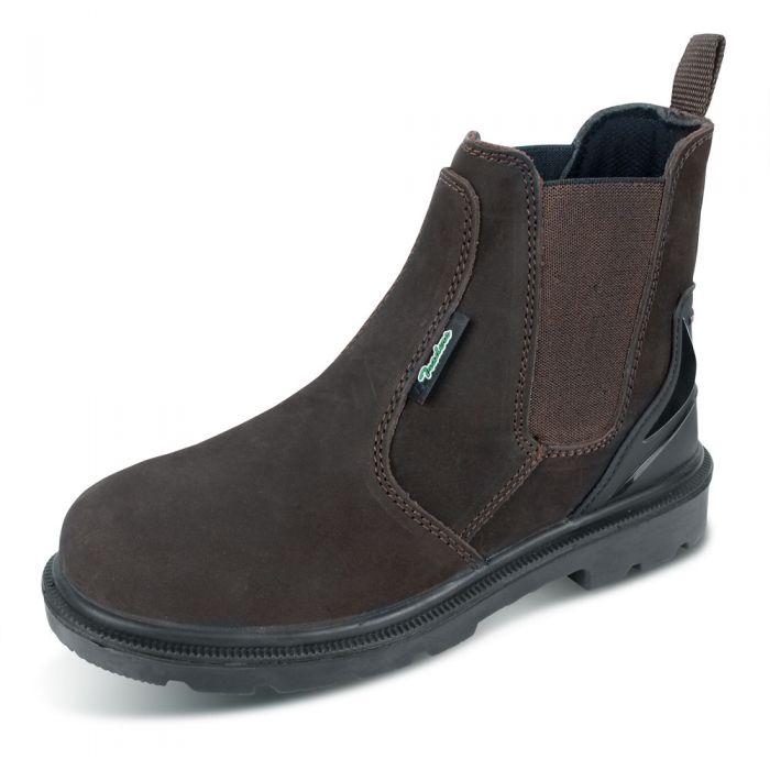 B-Click Traders PU/Rubber S3 Safety Dealer Boots Brown