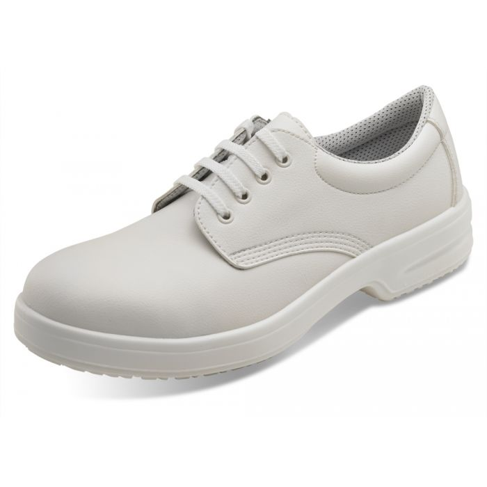 B-Click Footwear Micro Fibre Tie Safety Shoes White Size 10