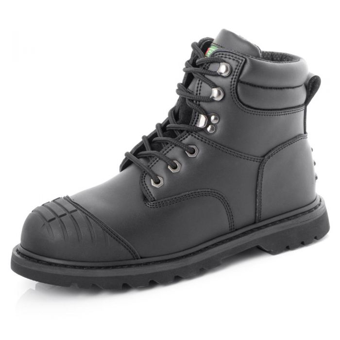 B-Click Footwear Goodyear Welted Safety Boots with Midsole and Scuff Cap Black