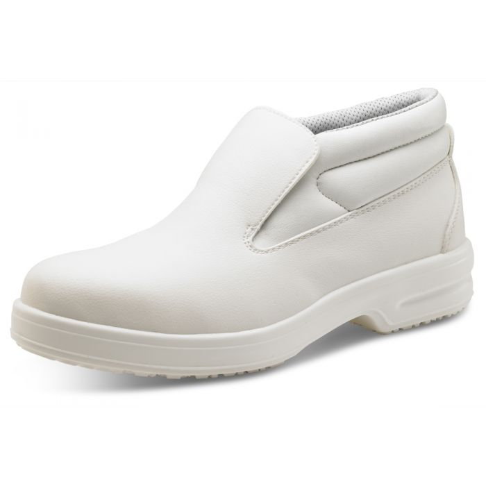 B-Click Footwear Slip On Chukka Safety Boots Micro Fibre White