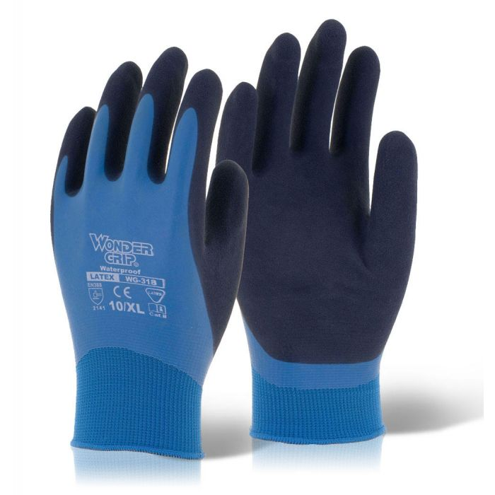 Wonder Grip Aqua WG-318 Latex Fully Coated Nylon Blue Gloves