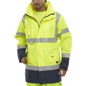B-Seen Hi Vis Two Tone Breathable Traffic Jacket Yellow/Navy