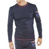 B-Click ARC Compliant Flame Retardant Navy Long Sleeve T Shirt