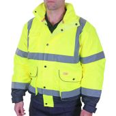 B-Seen Two Tone Hi Vis Constructor Bomber Jacket Saturn Yellow / Navy