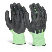 Glovezilla Cut Resistant Fully Coated Impact Gloves Green
